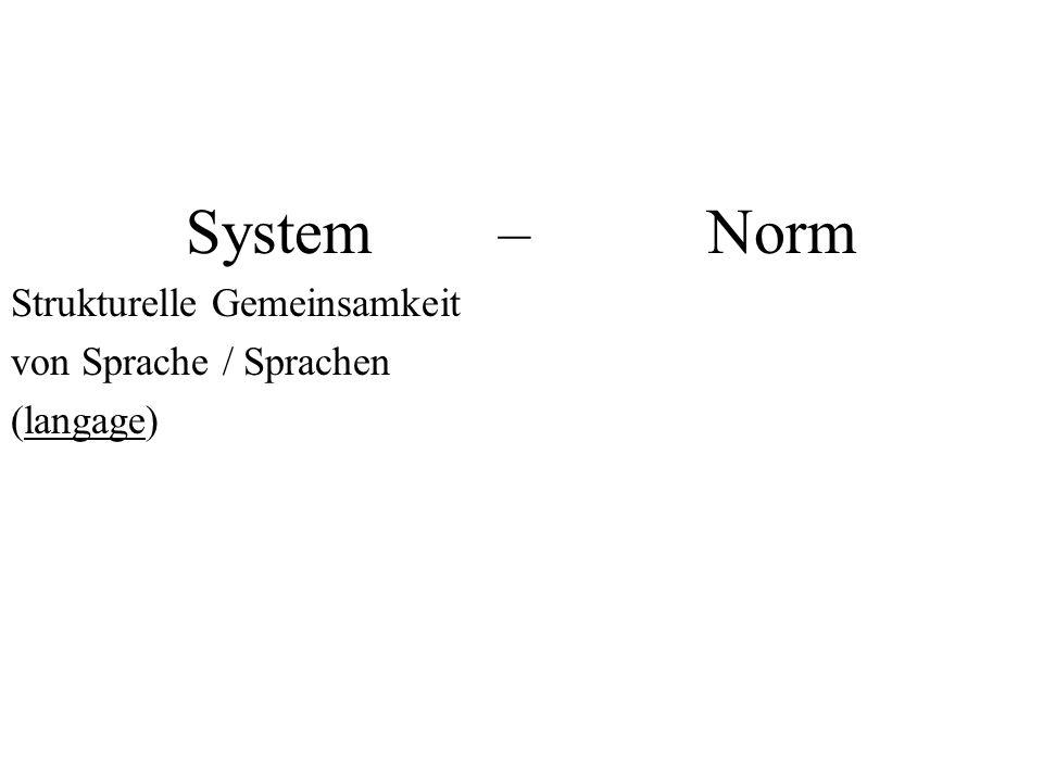 System – Norm Strukturelle Gemeinsamkeit von Sprache / Sprachen