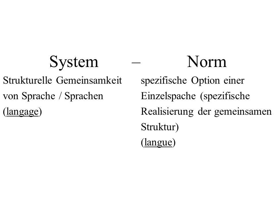System – Norm Strukturelle Gemeinsamkeit spezifische Option einer
