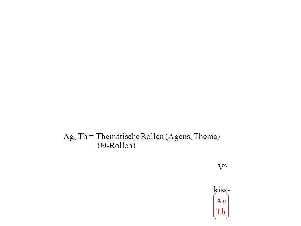 Ag, Th = Thematische Rollen (Agens, Thema) (-Rollen)