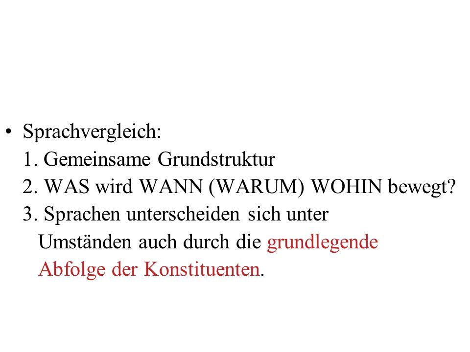 Sprachvergleich: 1. Gemeinsame Grundstruktur. 2. WAS wird WANN (WARUM) WOHIN bewegt 3. Sprachen unterscheiden sich unter.