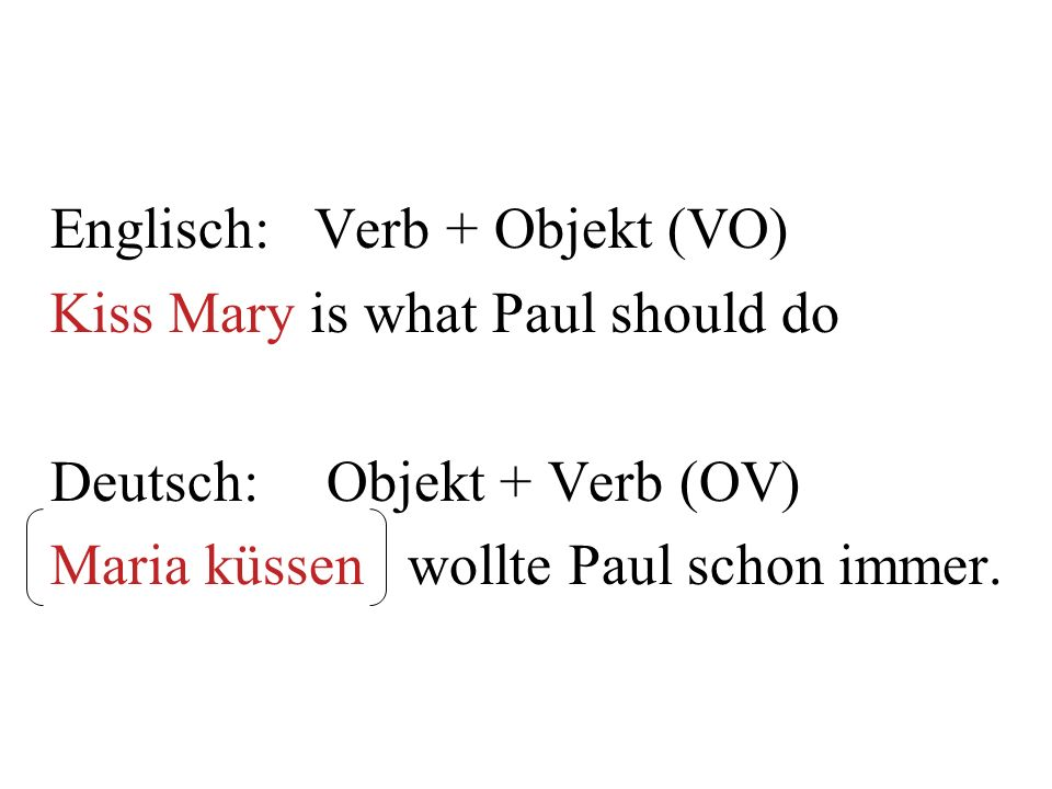 Englisch: Verb + Objekt (VO)