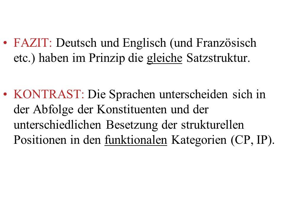 FAZIT: Deutsch und Englisch (und Französisch etc