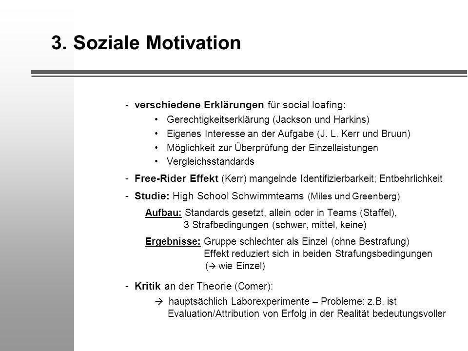 3. Soziale Motivation - verschiedene Erklärungen für social loafing: