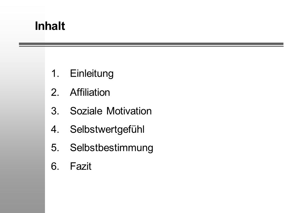 Inhalt 1. Einleitung 2. Affiliation 3. Soziale Motivation