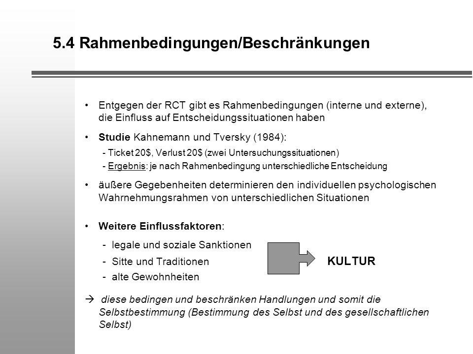 5.4 Rahmenbedingungen/Beschränkungen