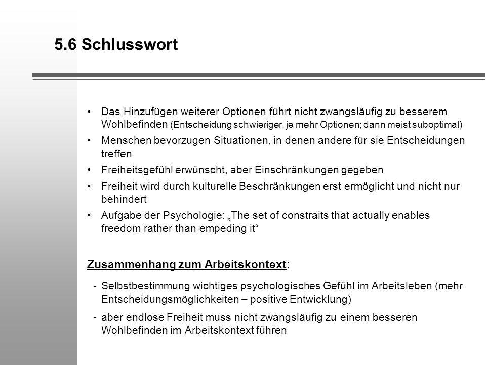 5.6 Schlusswort Zusammenhang zum Arbeitskontext: