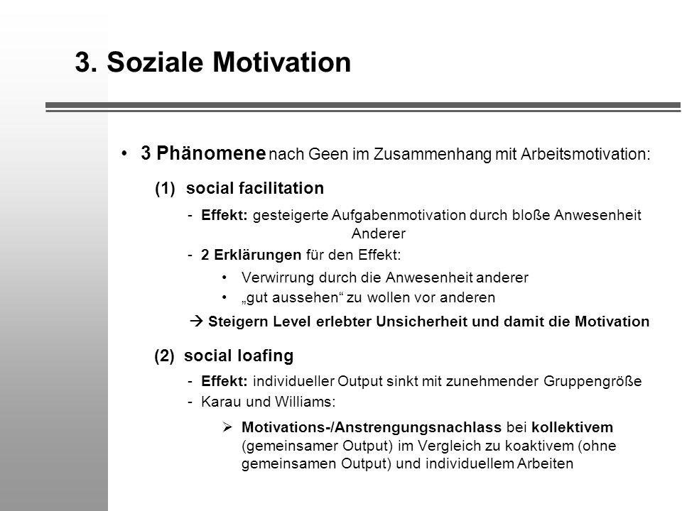 3. Soziale Motivation 3 Phänomene nach Geen im Zusammenhang mit Arbeitsmotivation: social facilitation.