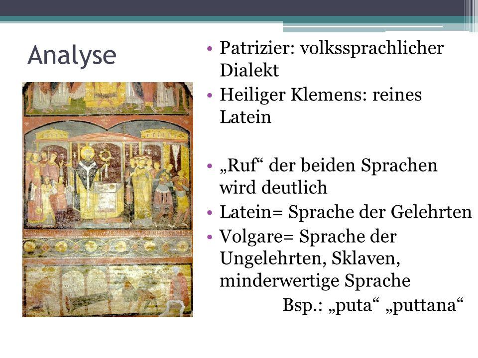 Analyse Patrizier: volkssprachlicher Dialekt