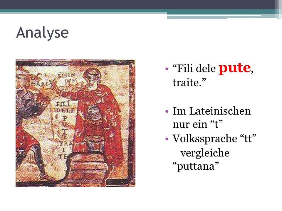 Analyse Fili dele pute, traite. Im Lateinischen nur ein t