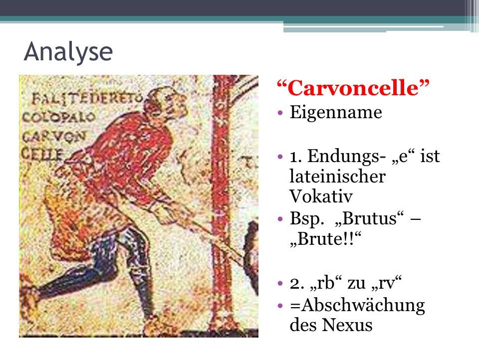 Analyse Carvoncelle Eigenname