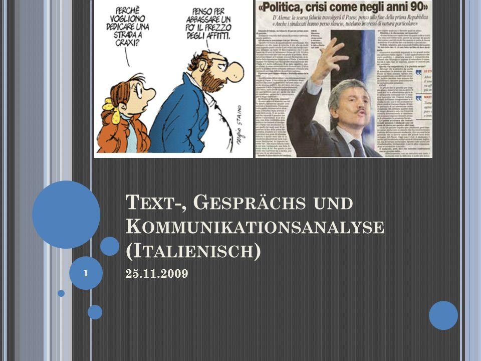 Text-, Gesprächs und Kommunikationsanalyse (Italienisch)