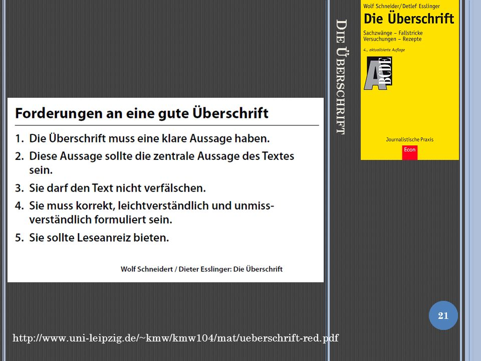 Die Überschrift http://www.uni-leipzig.de/~kmw/kmw104/mat/ueberschrift-red.pdf
