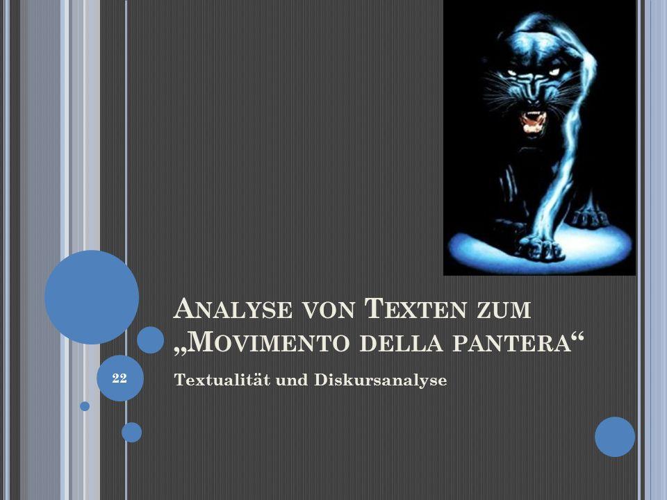 "Analyse von Texten zum ""Movimento della pantera"