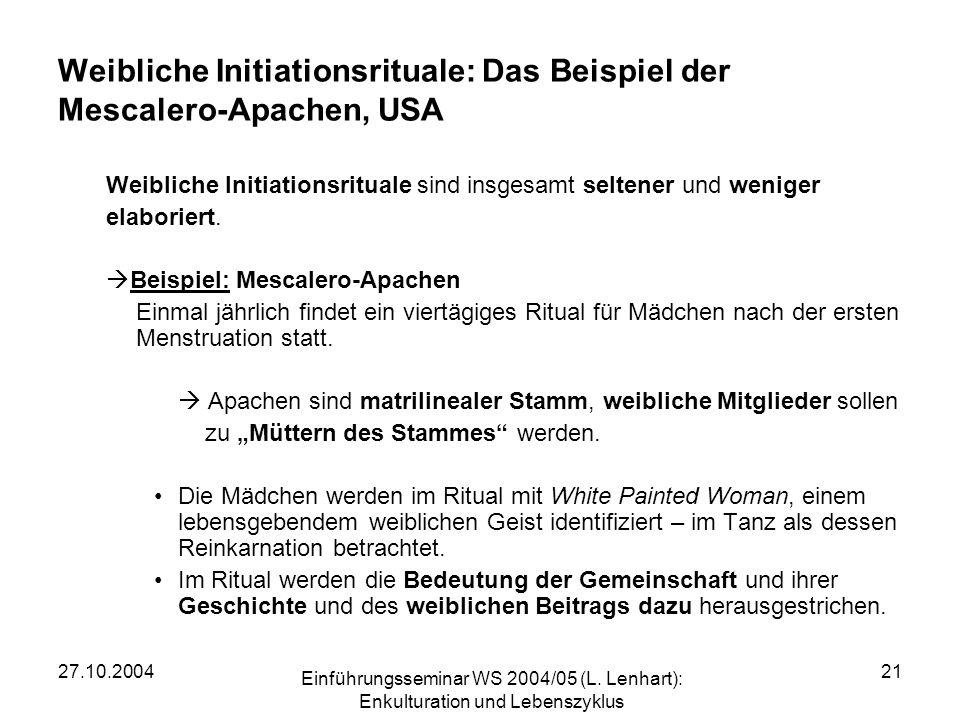 Weibliche Initiationsrituale: Das Beispiel der Mescalero-Apachen, USA