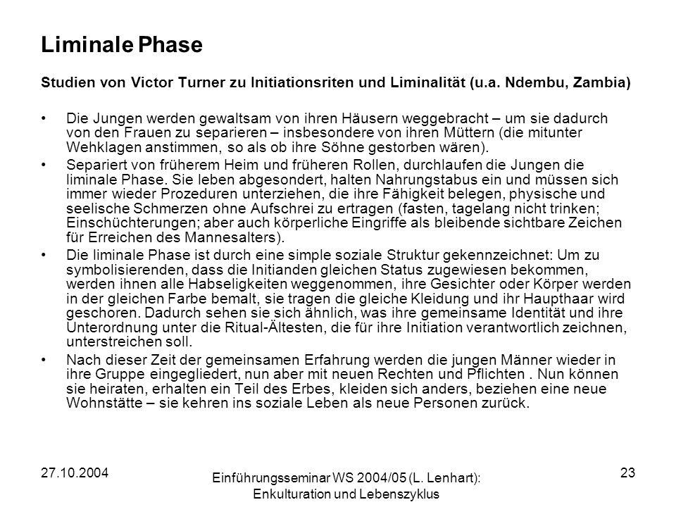 Liminale Phase Studien von Victor Turner zu Initiationsriten und Liminalität (u.a. Ndembu, Zambia)