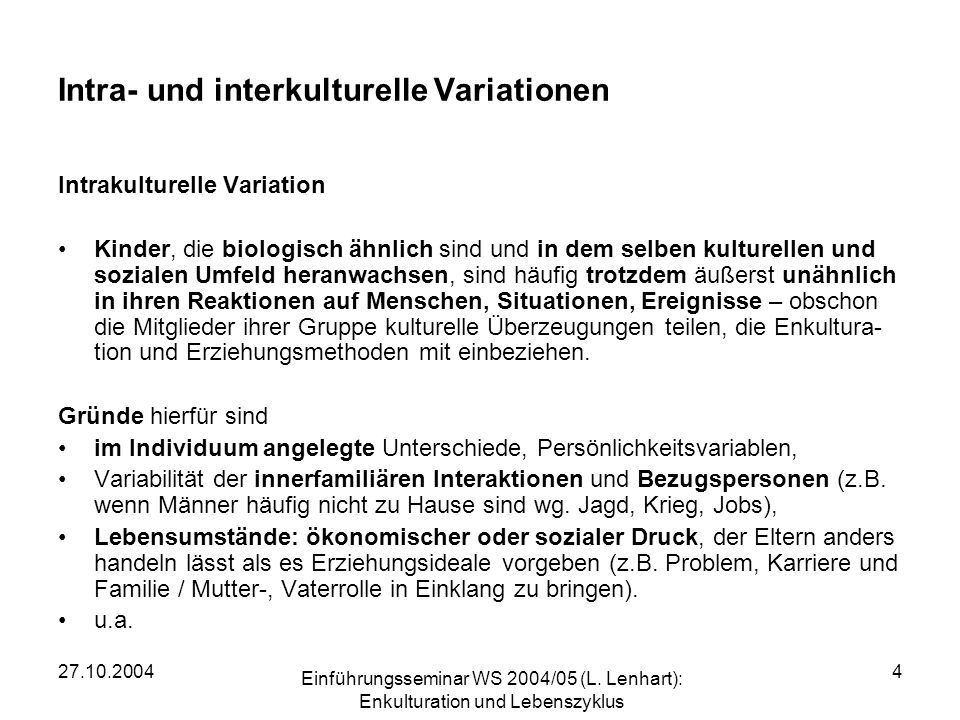Intra- und interkulturelle Variationen