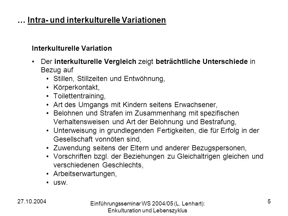 … Intra- und interkulturelle Variationen