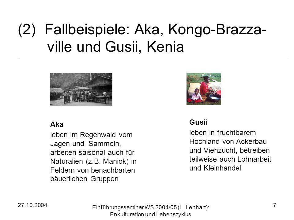 Fallbeispiele: Aka, Kongo-Brazza- ville und Gusii, Kenia