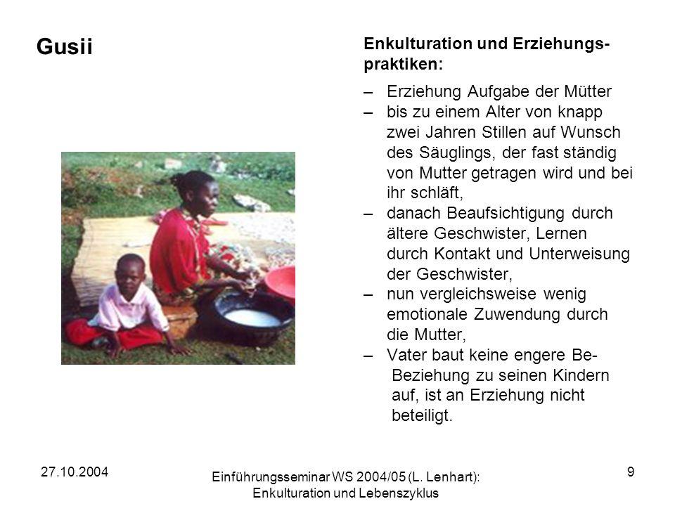 Gusii Enkulturation und Erziehungs- praktiken: