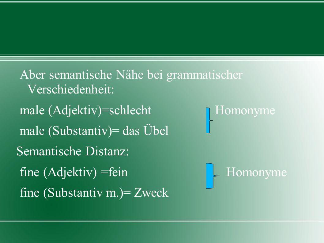 Aber semantische Nähe bei grammatischer Verschiedenheit: male (Adjektiv)=schlecht Homonyme male (Substantiv)= das Übel Semantische Distanz: fine (Adjektiv) =fein Homonyme fine (Substantiv m.)= Zweck