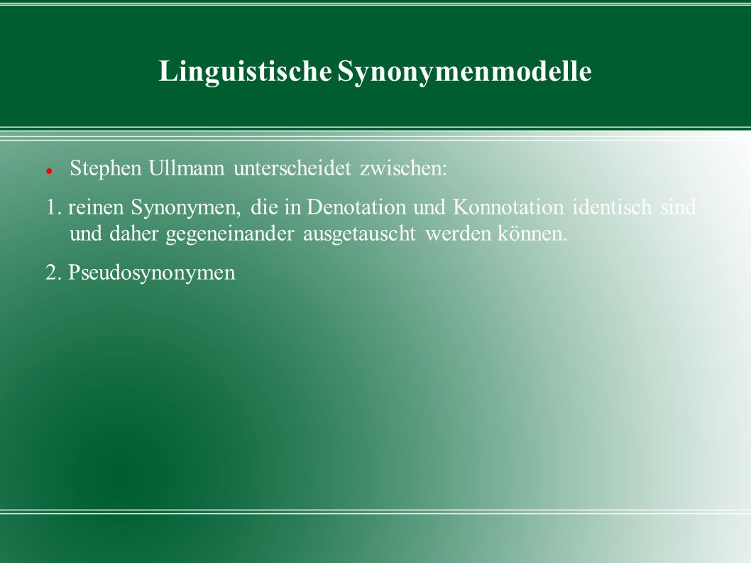 Linguistische Synonymenmodelle