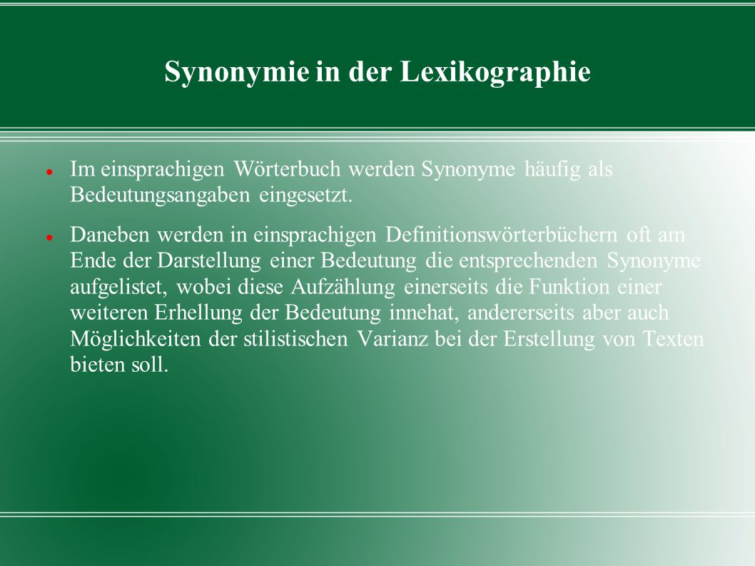 Synonymie in der Lexikographie