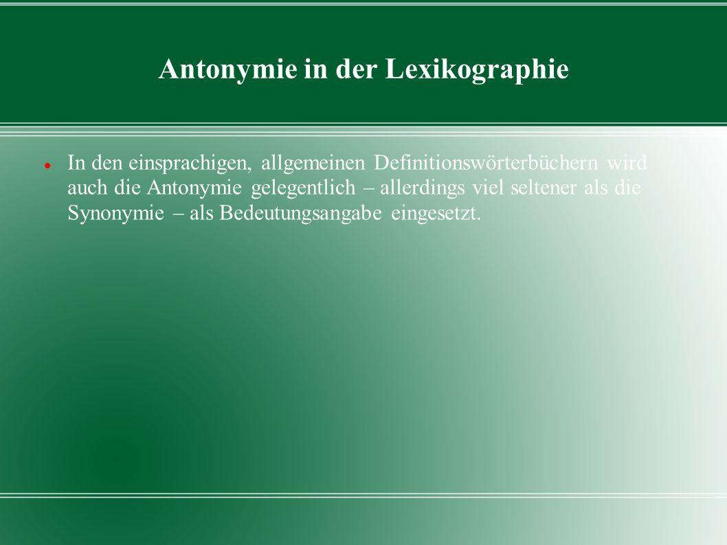 Antonymie in der Lexikographie