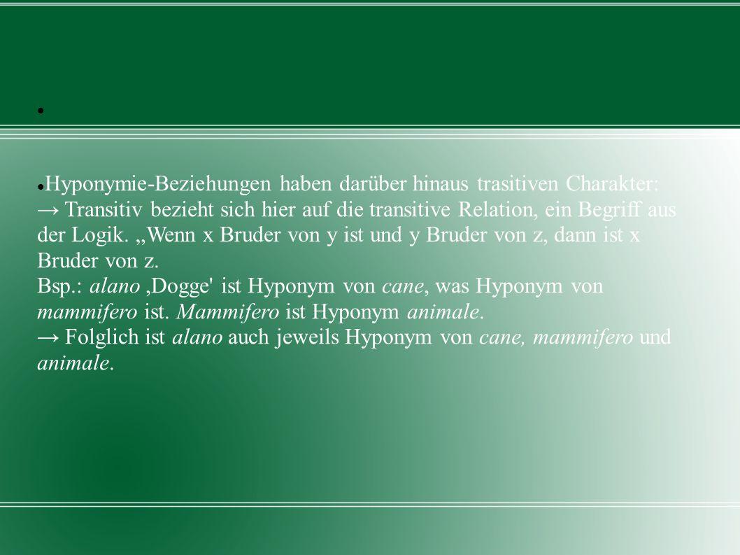 Hyponymie-Beziehungen haben darüber hinaus trasitiven Charakter: