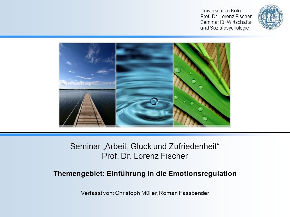 """Seminar """"Arbeit, Glück und Zufriedenheit Prof. Dr. Lorenz Fischer"""