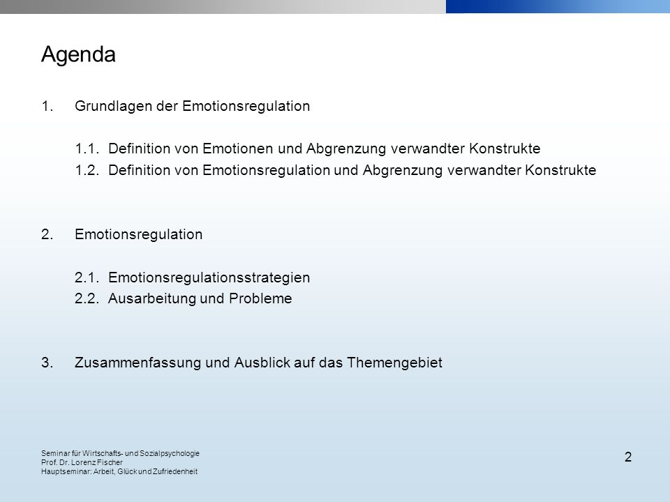 Agenda Grundlagen der Emotionsregulation