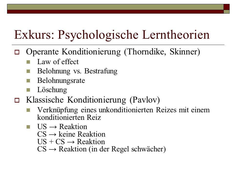 Exkurs: Psychologische Lerntheorien