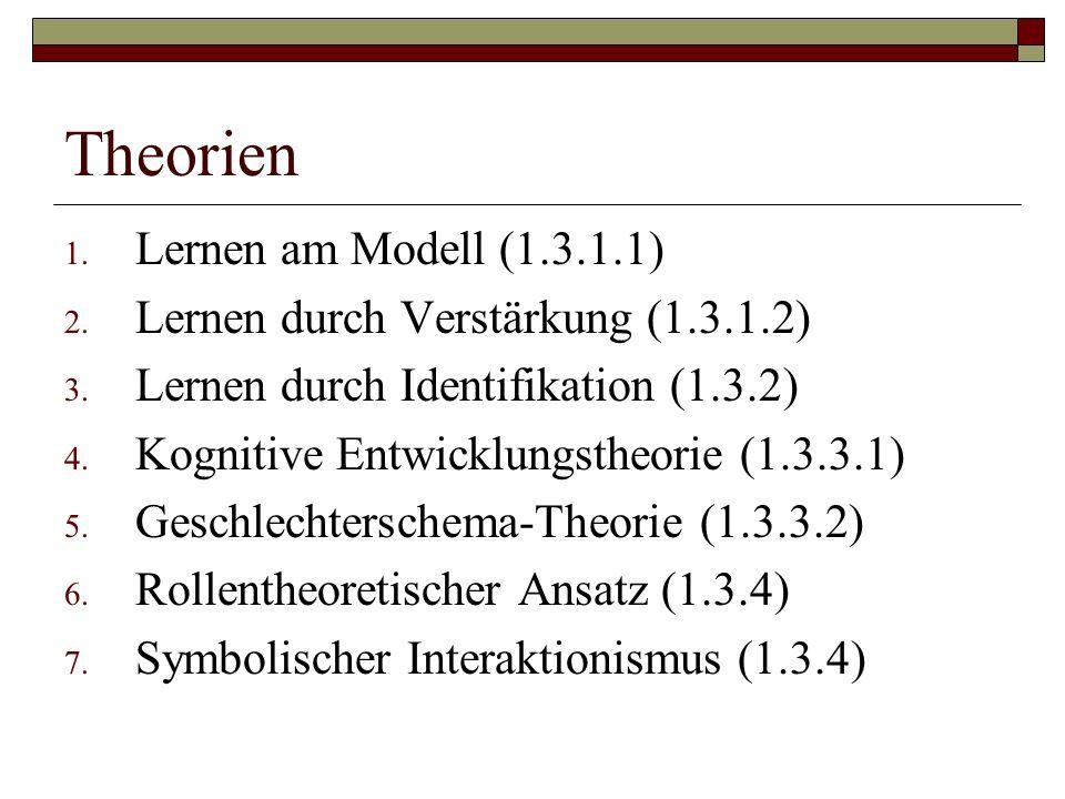 Theorien Lernen am Modell (1.3.1.1) Lernen durch Verstärkung (1.3.1.2)