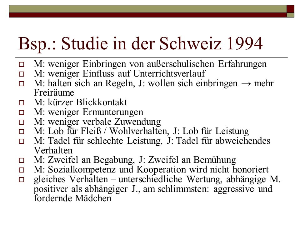 Bsp.: Studie in der Schweiz 1994
