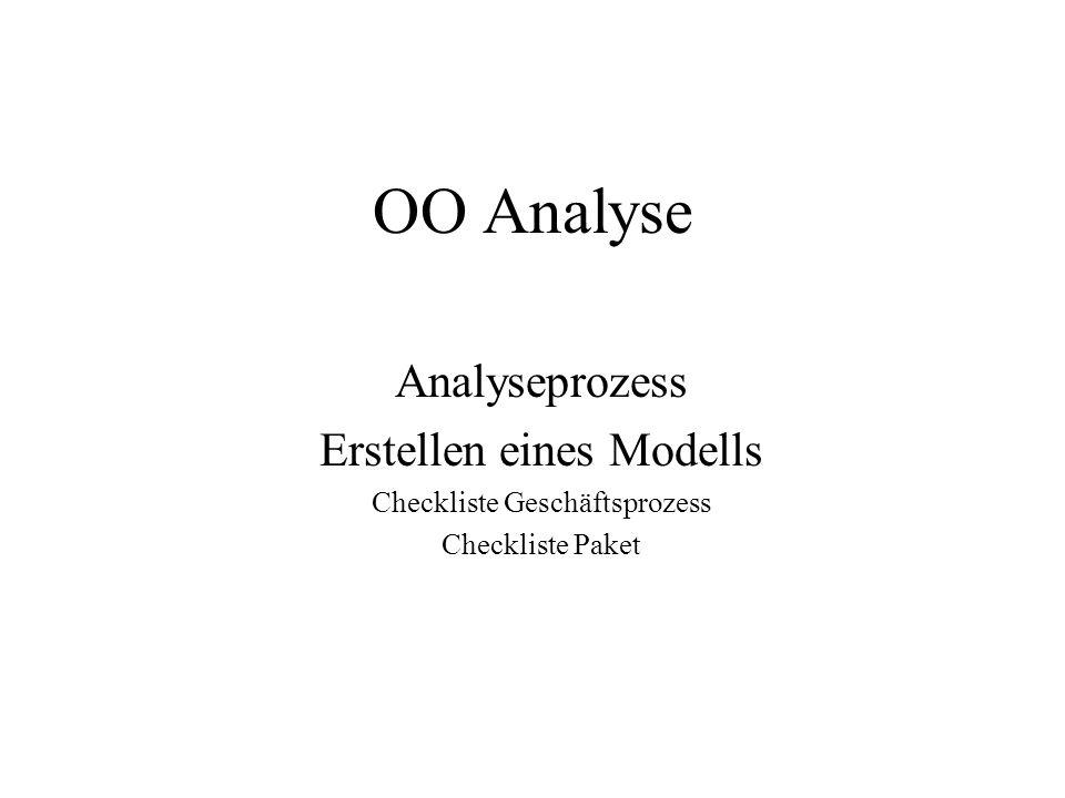 OO Analyse Analyseprozess Erstellen eines Modells