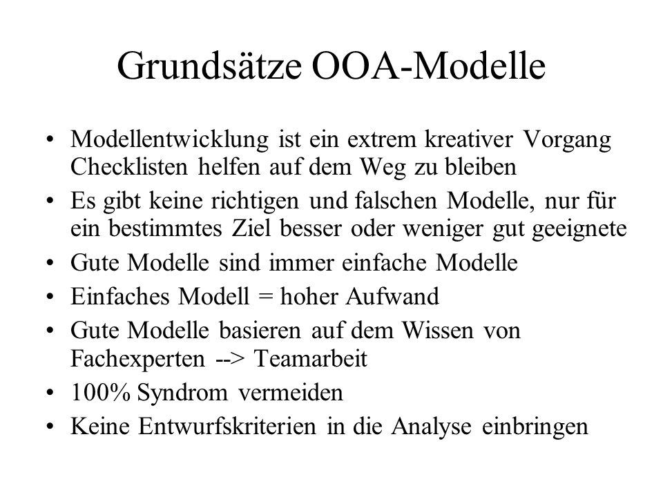 Grundsätze OOA-Modelle