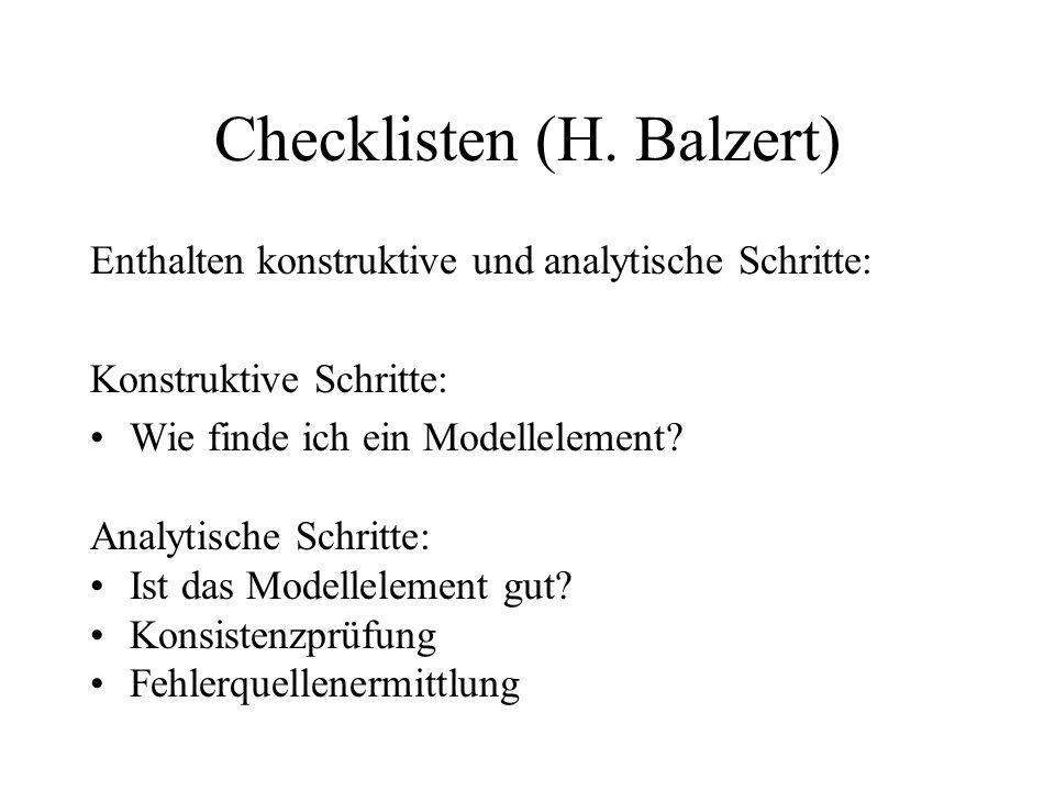 Checklisten (H. Balzert)