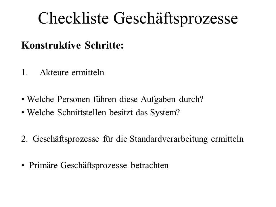 Checkliste Geschäftsprozesse