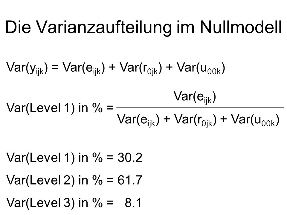 Die Varianzaufteilung im Nullmodell