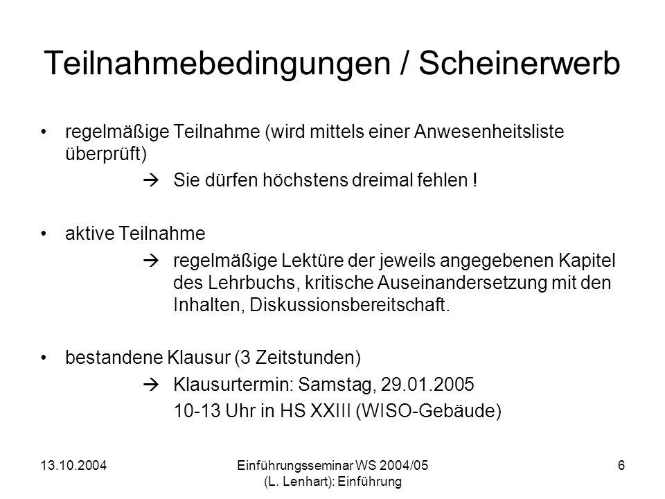 Teilnahmebedingungen / Scheinerwerb