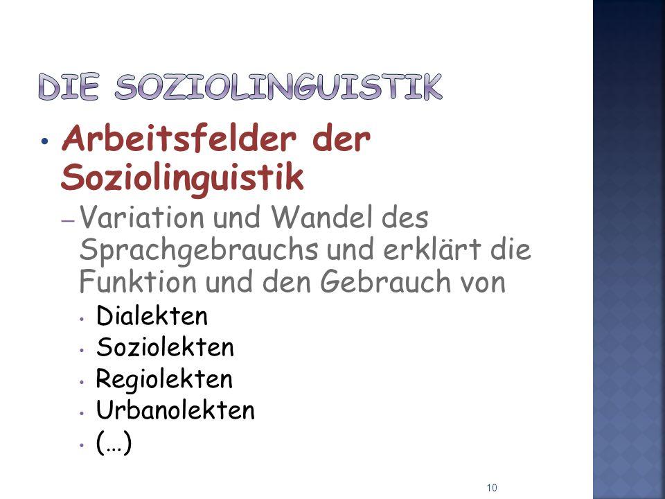 Arbeitsfelder der Soziolinguistik