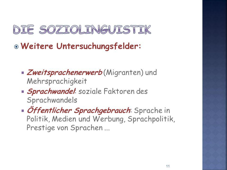 Die Soziolinguistik Weitere Untersuchungsfelder: