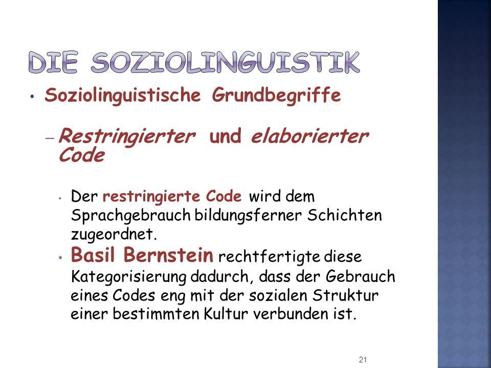Die Soziolinguistik Restringierter und elaborierter Code