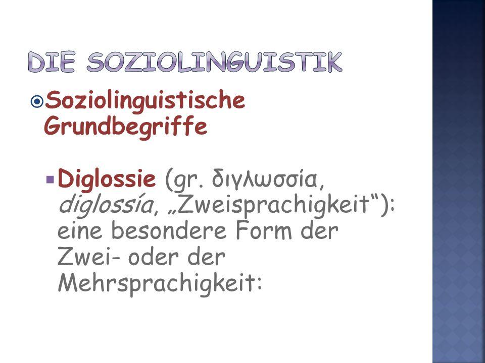Die Soziolinguistik Soziolinguistische Grundbegriffe