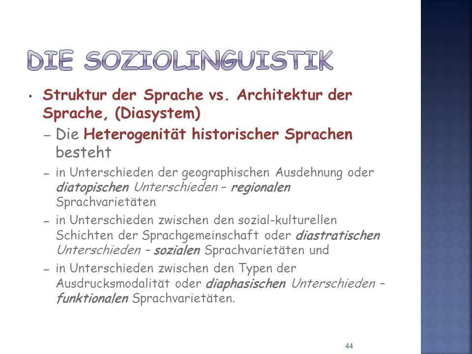 Die Soziolinguistik Struktur der Sprache vs. Architektur der Sprache, (Diasystem) Die Heterogenität historischer Sprachen besteht.