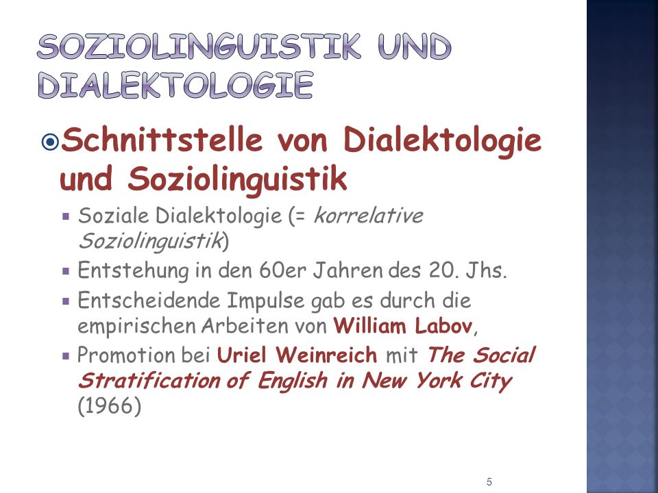 Soziolinguistik und Dialektologie