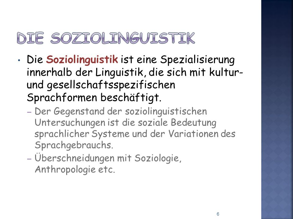 Die Soziolinguistik