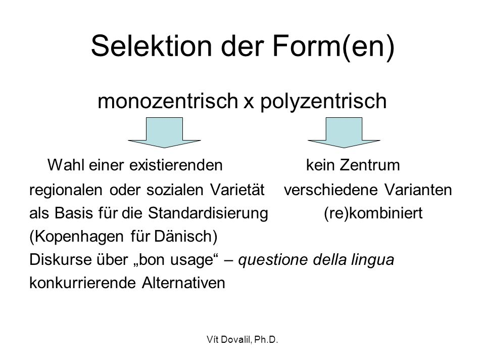 Selektion der Form(en)
