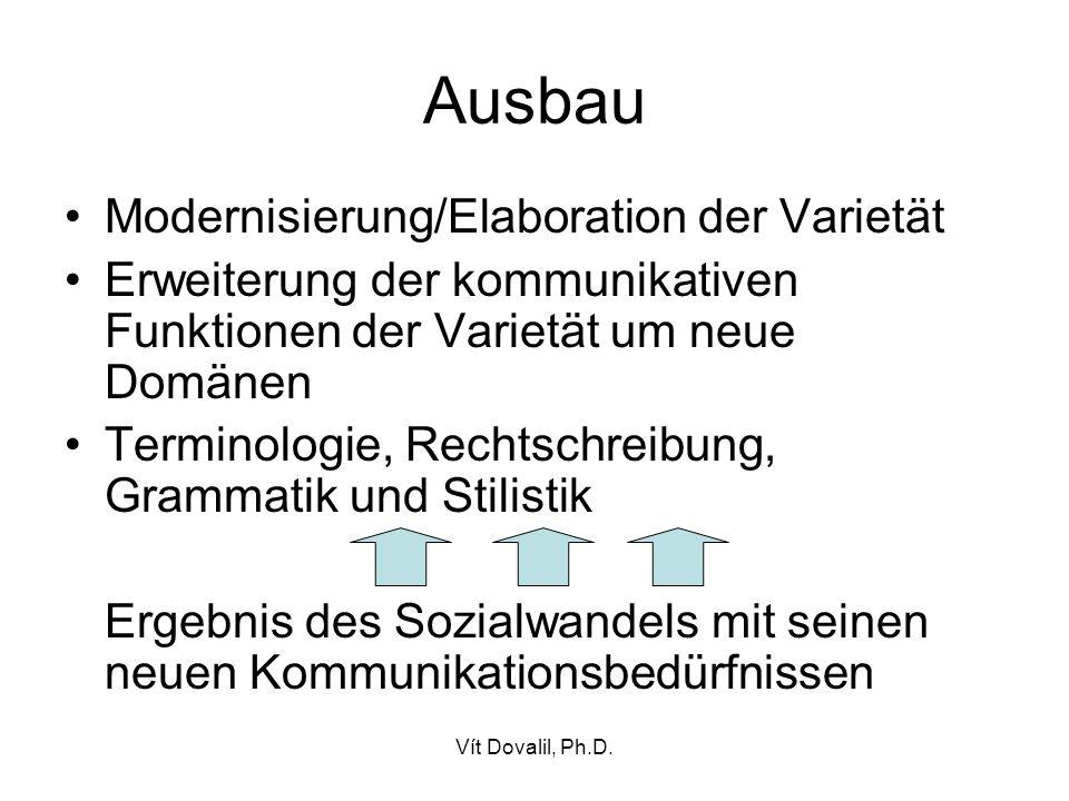 Ausbau Modernisierung/Elaboration der Varietät
