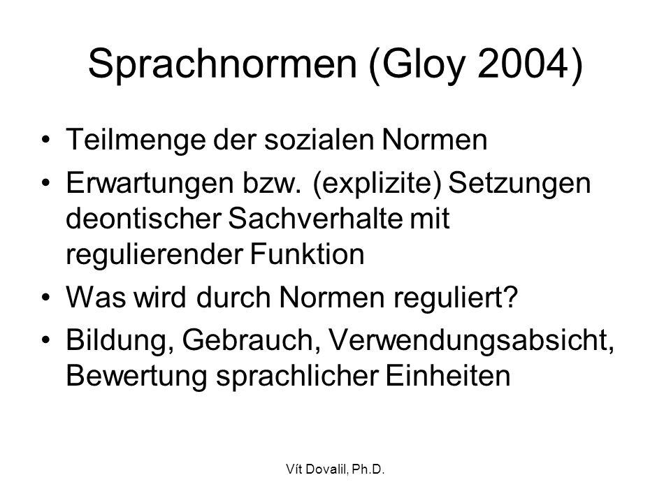 Sprachnormen (Gloy 2004) Teilmenge der sozialen Normen