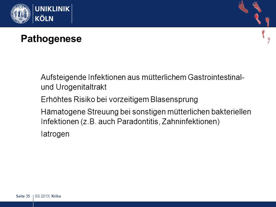 Pathogenese Aufsteigende Infektionen aus mütterlichem Gastrointestinal- und Urogenitaltrakt. Erhöhtes Risiko bei vorzeitigem Blasensprung.
